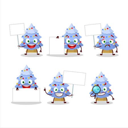 Blue christmas tree cartoon character bring information board 矢量图像