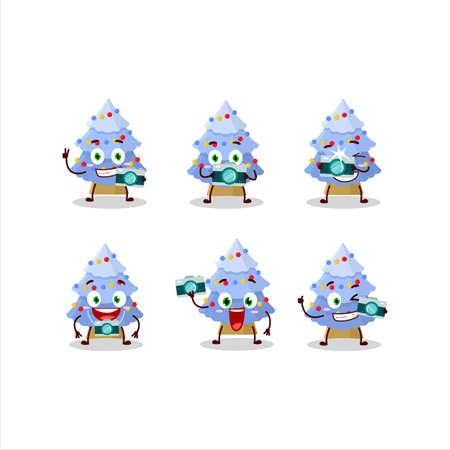 Photographer profession emoticon with blue christmas tree cartoon character