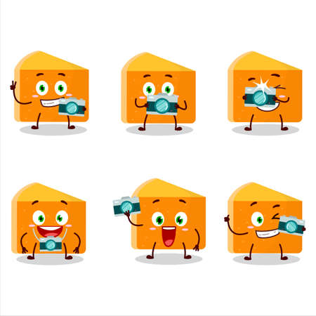 Photographer profession emoticon with pumpkin cake cartoon character
