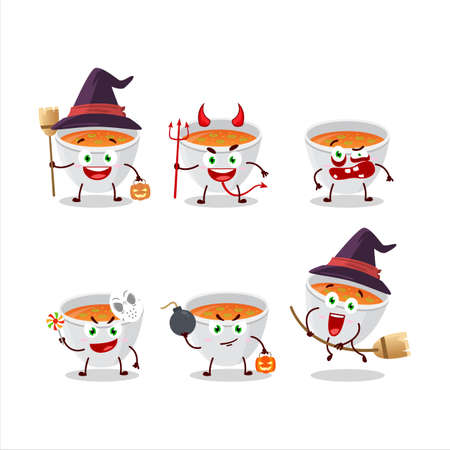 Halloween expression emoticons with cartoon character of pumpkin cream soup