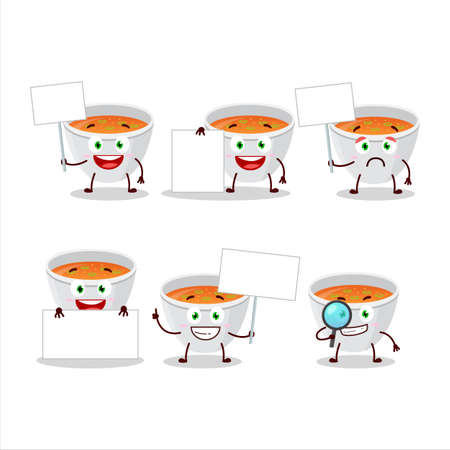 Pumpkin cream soup cartoon character bring information board