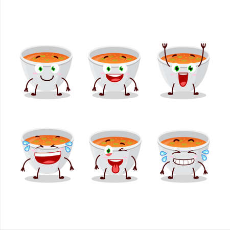Cartoon character of pumpkin cream soup with smile expression
