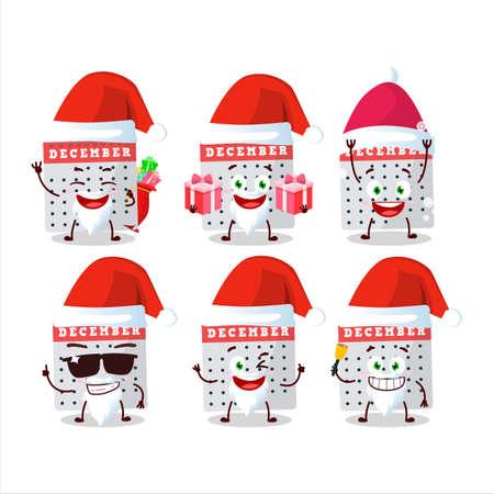 Santa Claus emoticons with december calendar cartoon character