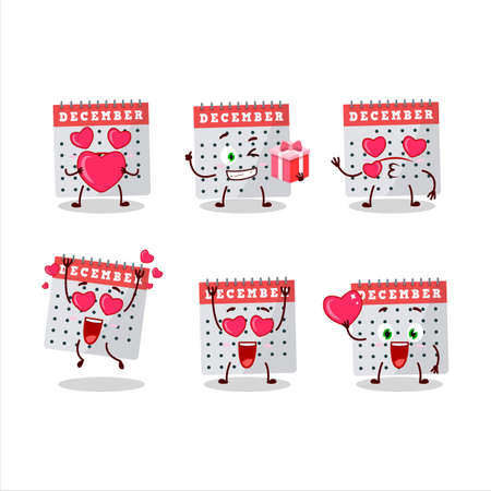 December calendar cartoon character with love cute emoticon