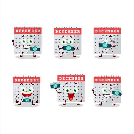 Photographer profession emoticon with december calendar cartoon character