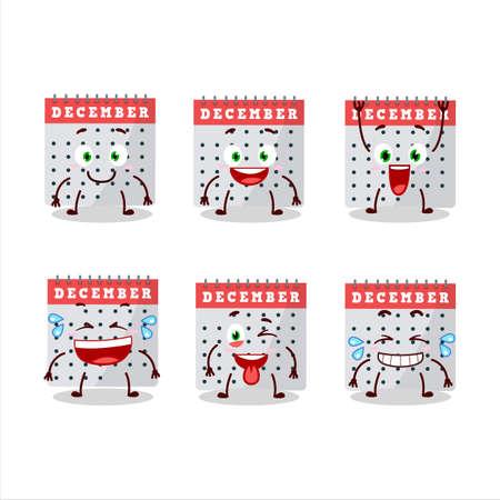 Cartoon character of december calendar with smile expression Ilustração