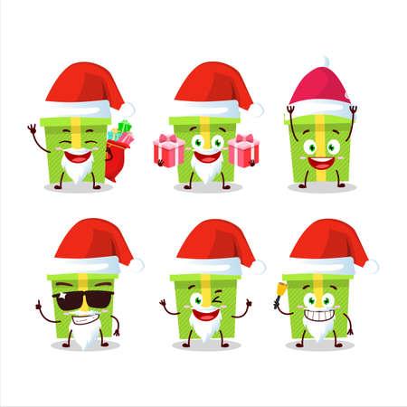 Santa Claus emoticons with green christmas gift cartoon character 矢量图像