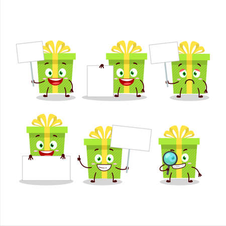 Green christmas gift cartoon character bring information board