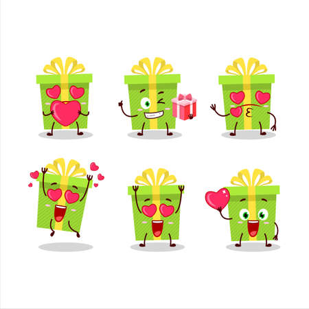 Green christmas gift cartoon character with love cute emoticon