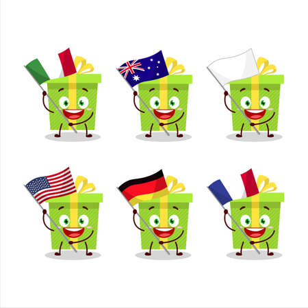 Green christmas gift cartoon character bring the flags of various countries