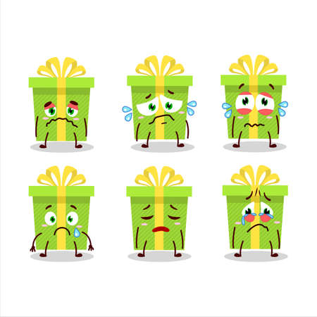Green christmas gift cartoon character with sad expression