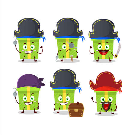 Cartoon character of green christmas gift with various pirates emoticons