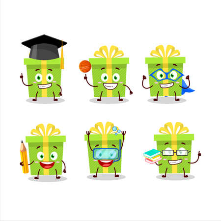 School student of green christmas gift cartoon character with various expressions