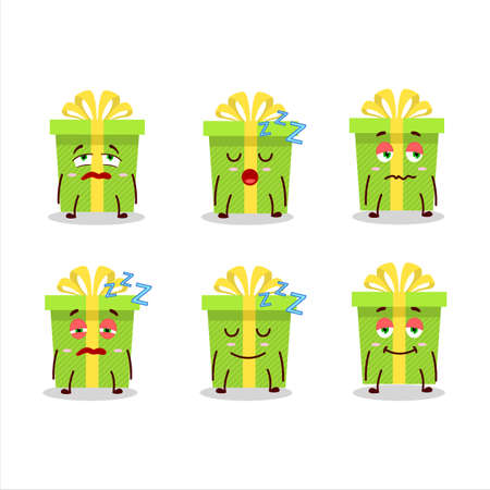 Cartoon character of green christmas gift with sleepy expression