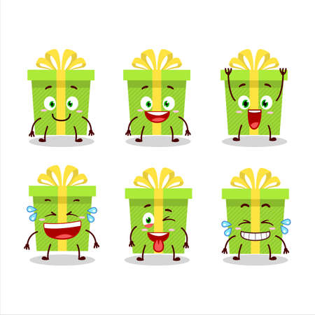 Cartoon character of green christmas gift with smile expression