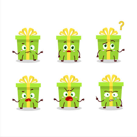 Cartoon character of green christmas gift with what expression