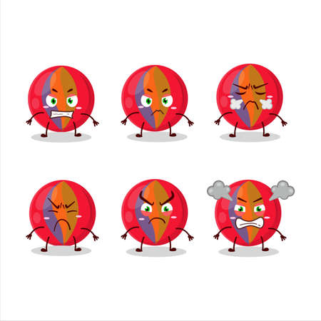 Red marbles cartoon character with various angry expressions
