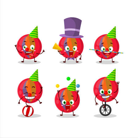 Cartoon character of red marbles with various circus shows