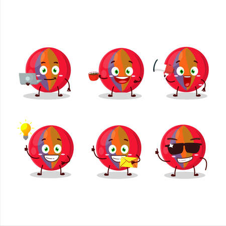 Red marbles cartoon character with various types of business emoticons Ilustracja