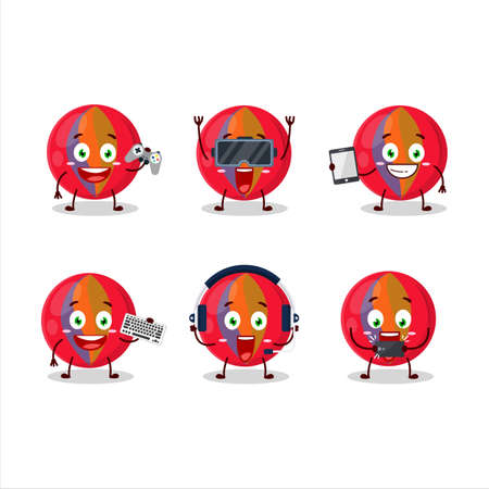 Red marbles cartoon character are playing games with various cute emoticons