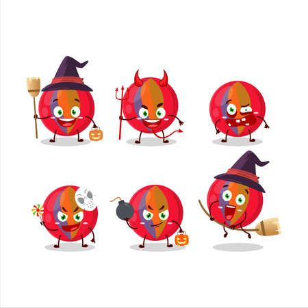 Halloween expression emoticons with cartoon character of red marbles 矢量图像