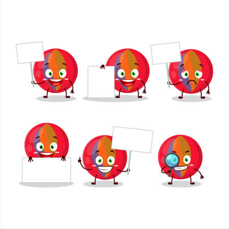 Red marbles cartoon character bring information board