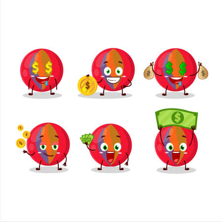 Red marbles cartoon character with cute emoticon bring money
