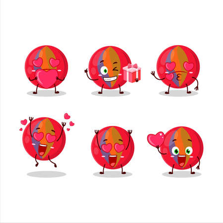 Red marbles cartoon character with love cute emoticon
