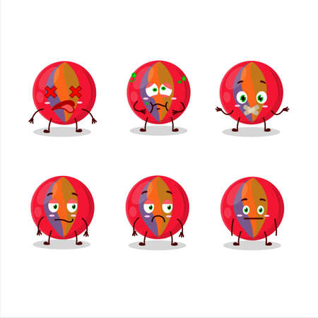 Red marbles cartoon character with nope expression Ilustracja