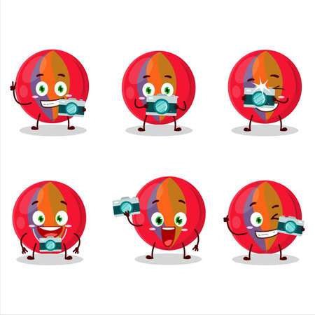 Photographer profession emoticon with red marbles cartoon character