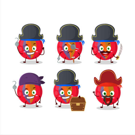 Cartoon character of red marbles with various pirates emoticons