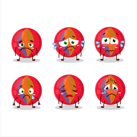 Red marbles cartoon character with sad expression
