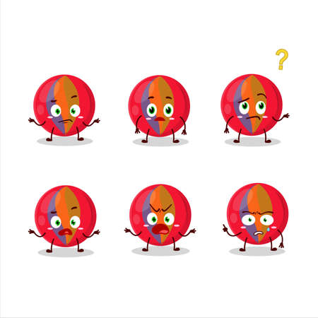 Cartoon character of red marbles with what expression