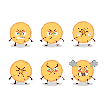 Savory pie cartoon character with various angry expressions