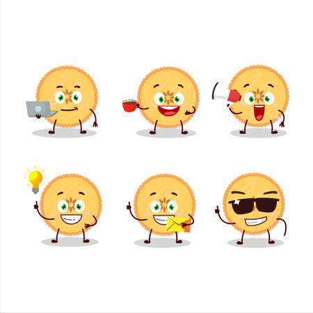 Savory pie cartoon character with various types of business emoticons