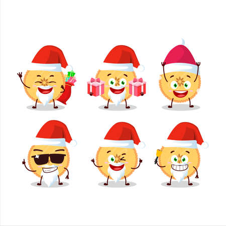 Santa Claus emoticons with savory pie cartoon character