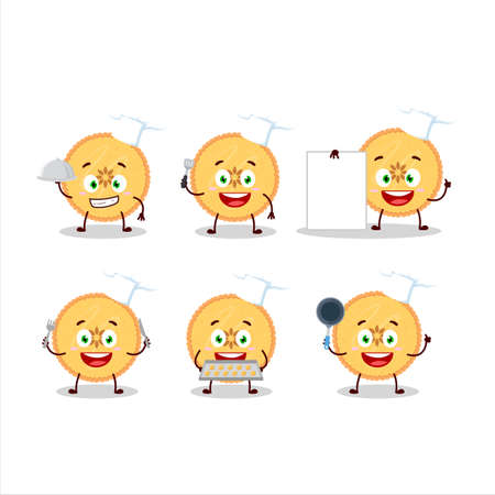 Cartoon character of savory pie with various chef emoticons 일러스트