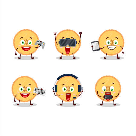 Savory pie cartoon character are playing games with various cute emoticons