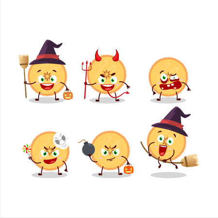 Halloween expression emoticons with cartoon character of savory pie 矢量图像