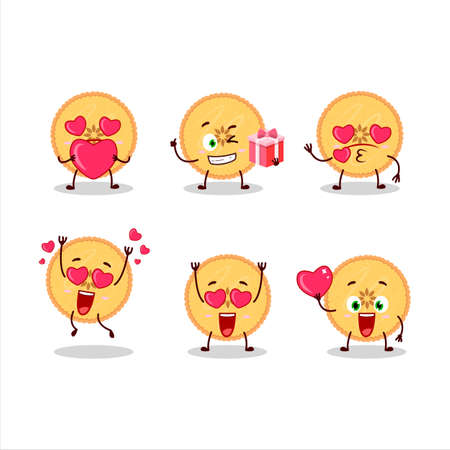 Savory pie cartoon character with love cute emoticon