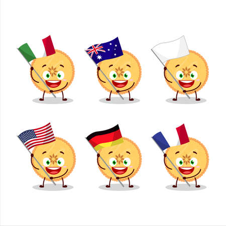 Savory pie cartoon character bring the flags of various countries