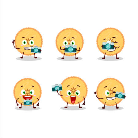 Photographer profession emoticon with savory pie cartoon character