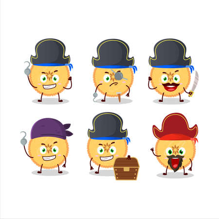 Cartoon character of savory pie with various pirates emoticons