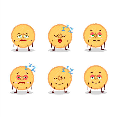 Cartoon character of savory pie with sleepy expression 일러스트