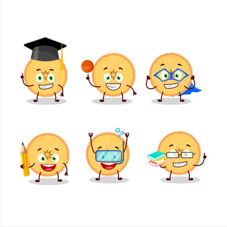 School student of savory pie cartoon character with various expressions 일러스트