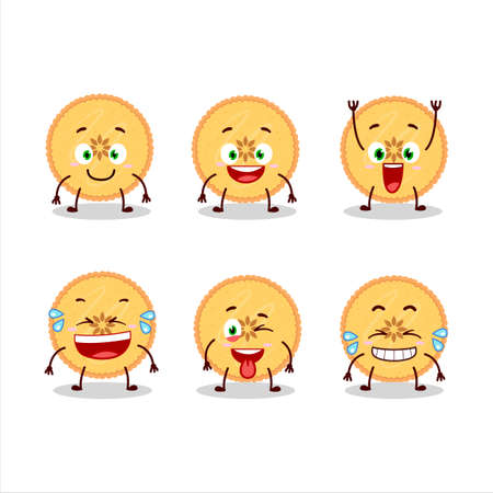 Cartoon character of savory pie with smile expression