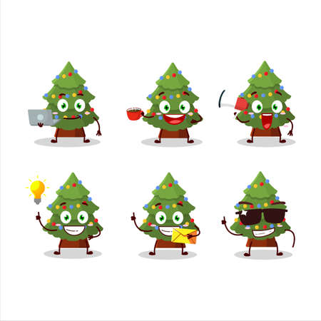 Green christmas tree cartoon character with various types of business emoticons