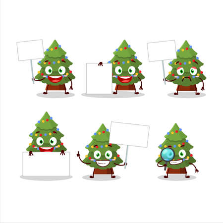 Green christmas tree cartoon character bring information board