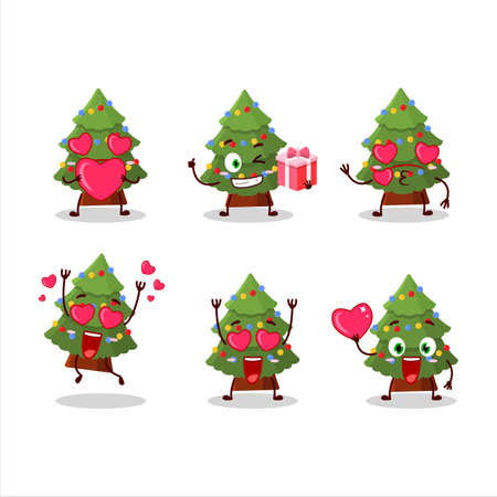 Green christmas tree cartoon character with love cute emoticon 免版税图像 - 157572698