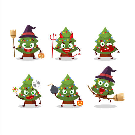 Halloween expression emoticons with cartoon character of green christmas tree  イラスト・ベクター素材